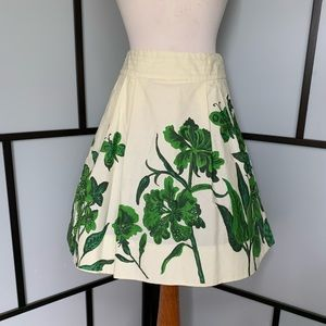 Anthro Nathalie Lete Paris Ivory Green Skirt